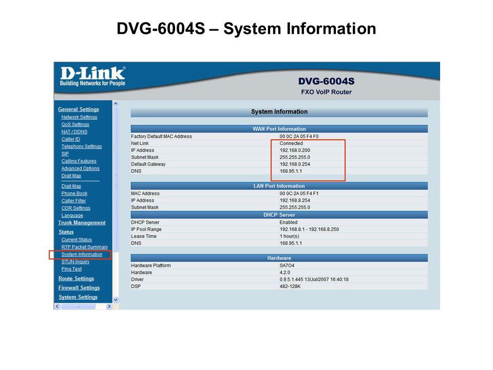 DVG-6004S – System Information