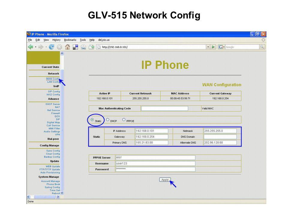 GLV-515 Network Config