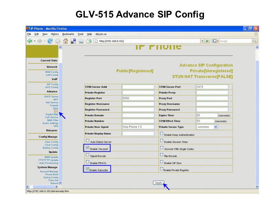 GLV-515 Advance SIP Config