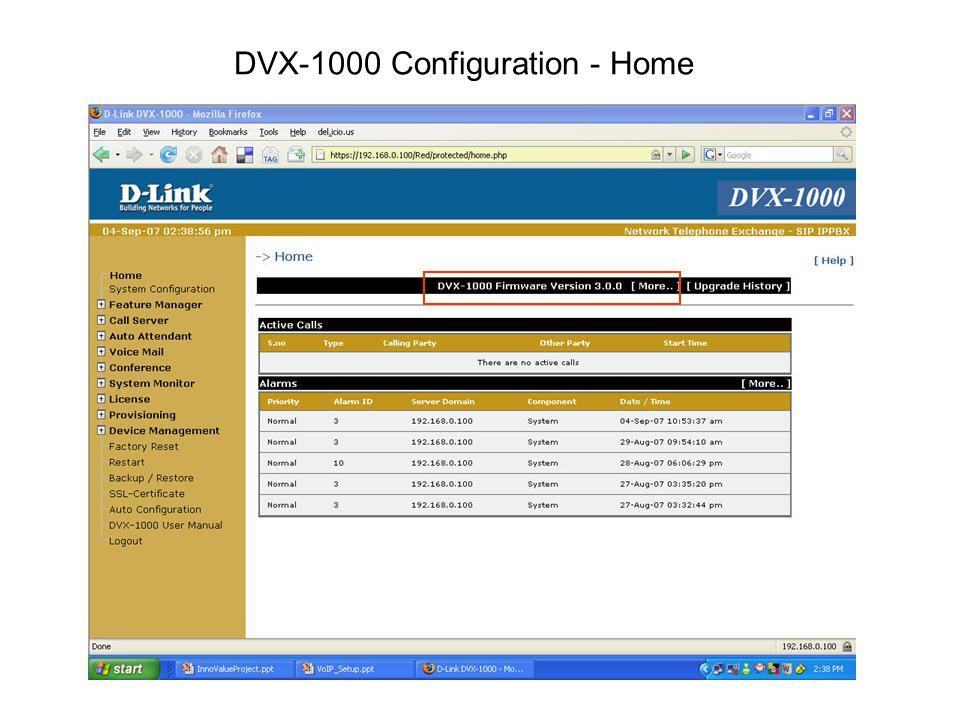 DVX-1000 Configuration - Home