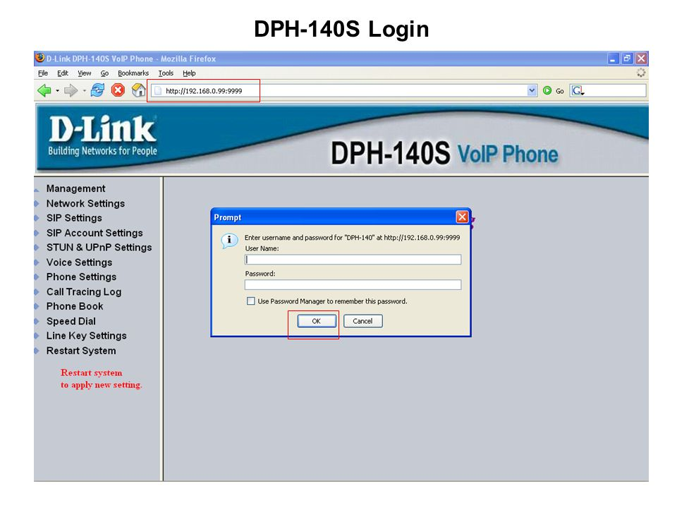 DPH-140S Login