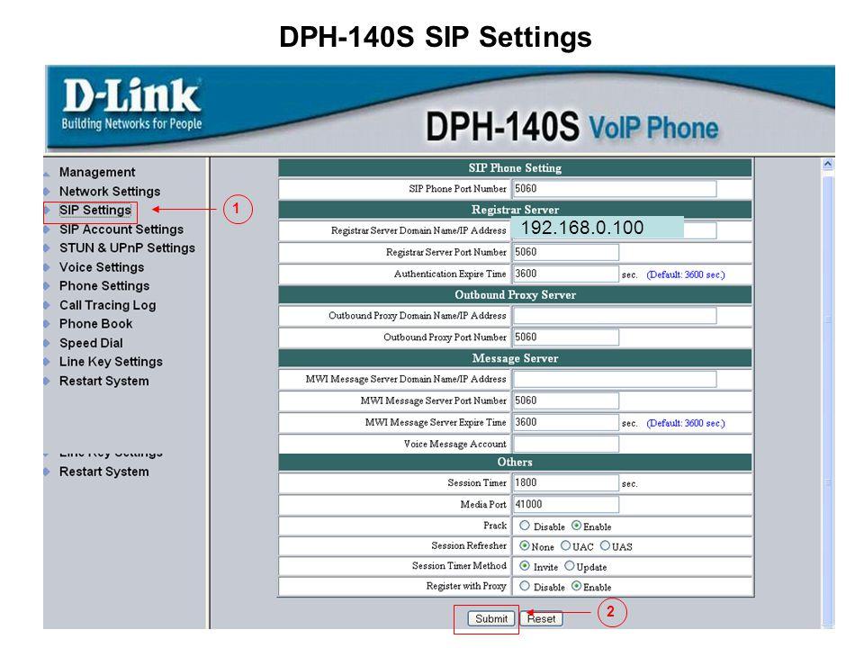 DPH-140S SIP Settings 1 192.168.0.100 2