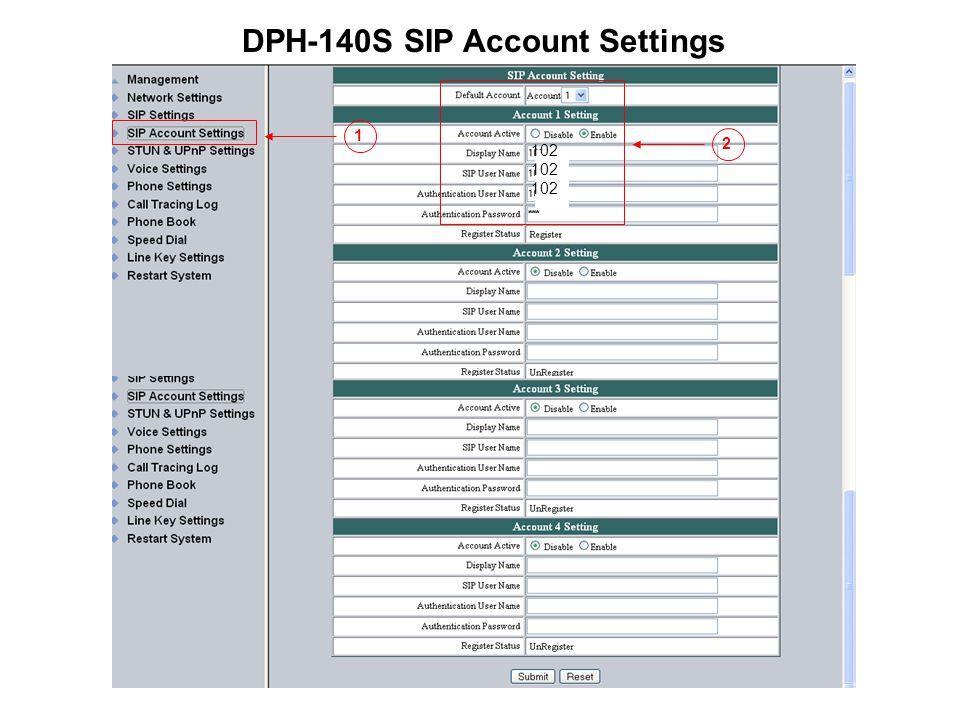 DPH-140S SIP Account Settings