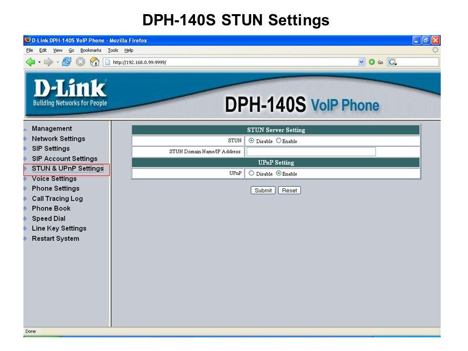 DPH-140S STUN Settings