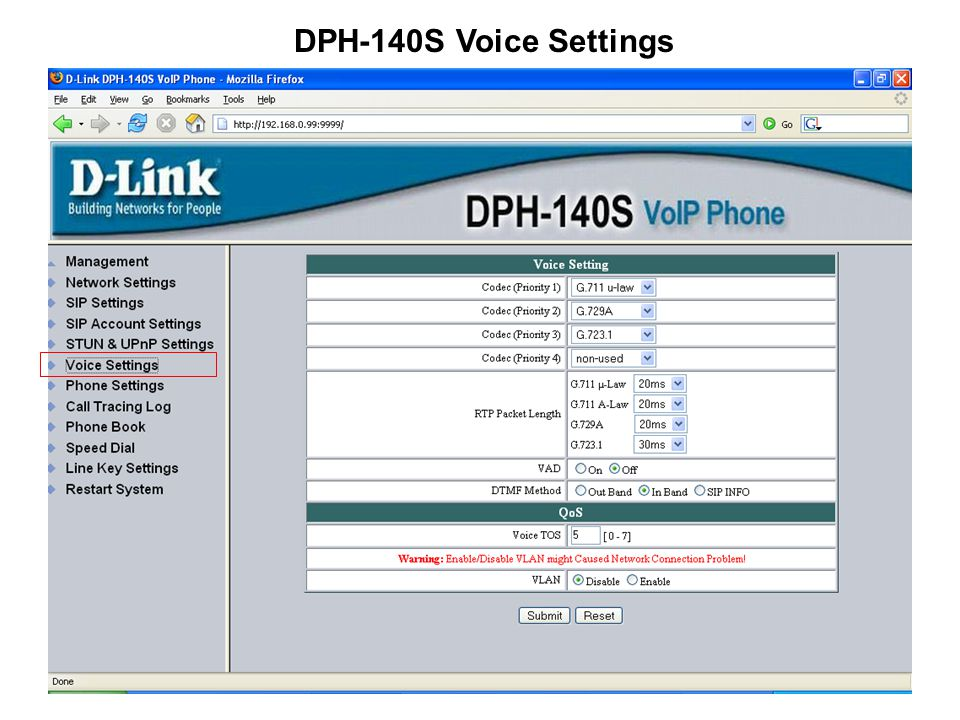 DPH-140S Voice Settings