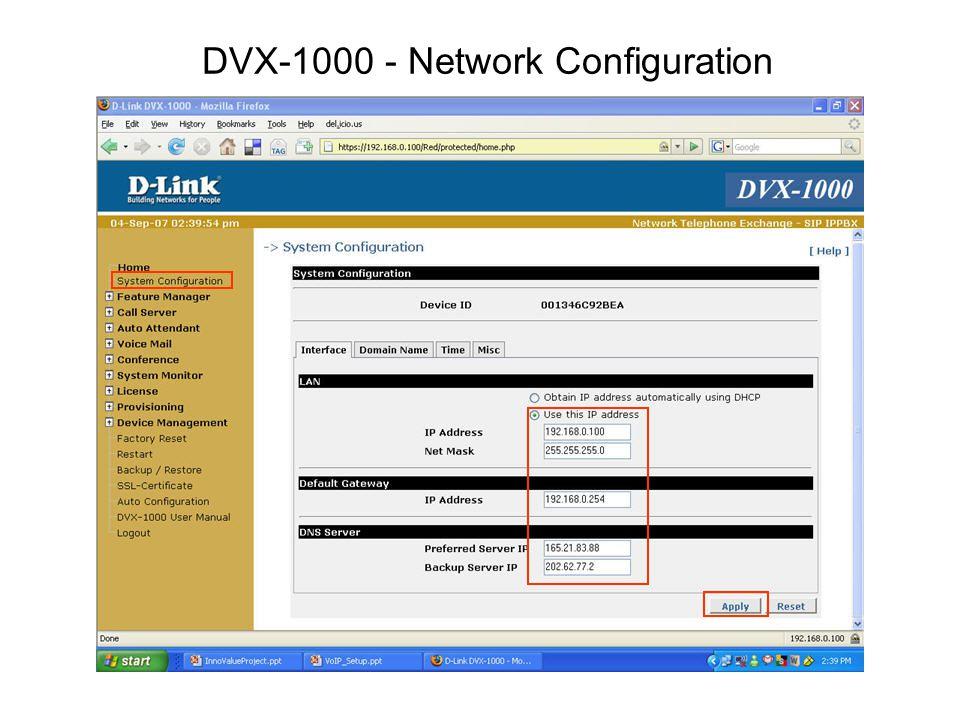 DVX-1000 - Network Configuration