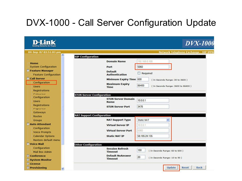 DVX-1000 - Call Server Configuration Update