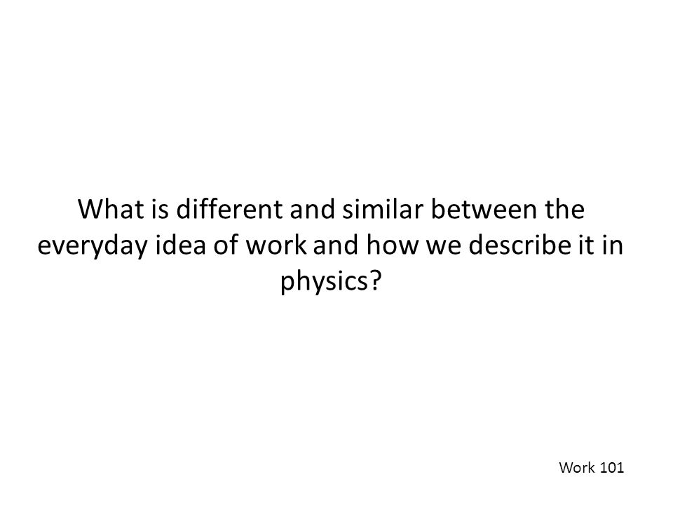 What is different and similar between the everyday idea of work and how we describe it in physics