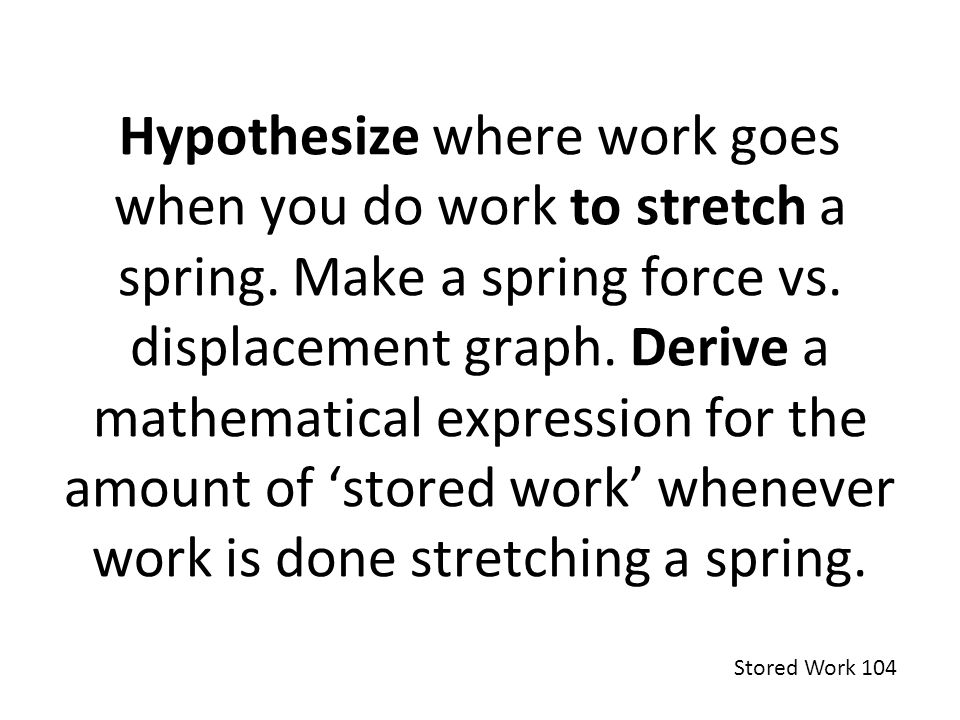 Hypothesize where work goes when you do work to stretch a spring