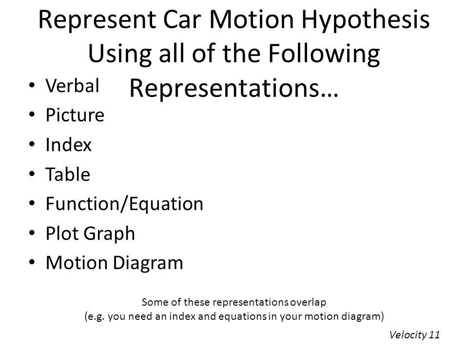 Represent Car Motion Hypothesis Using all of the Following Representations…