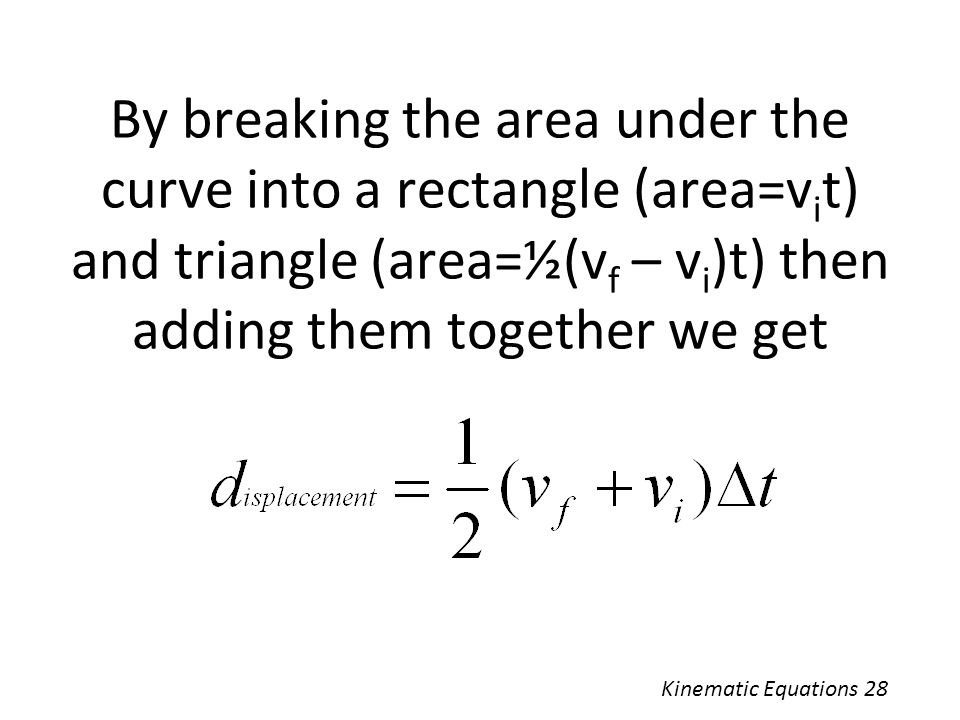 By breaking the area under the curve into a rectangle (area=vit) and triangle (area=½(vf – vi)t) then adding them together we get