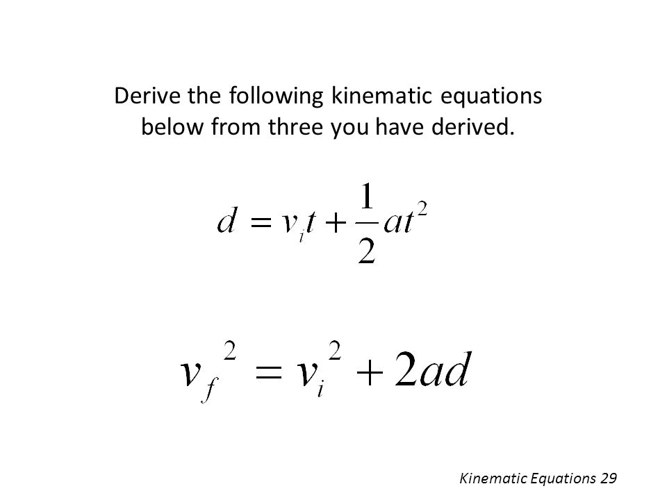 Derive the following kinematic equations below from three you have derived.