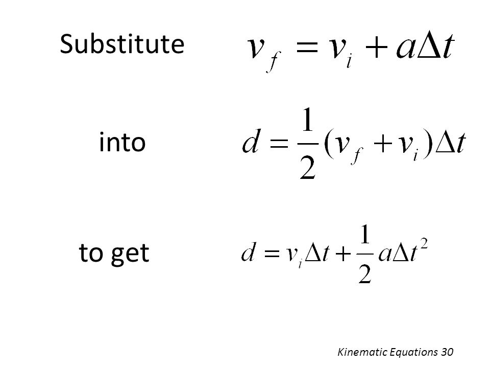 Substitute into to get Kinematic Equations 30