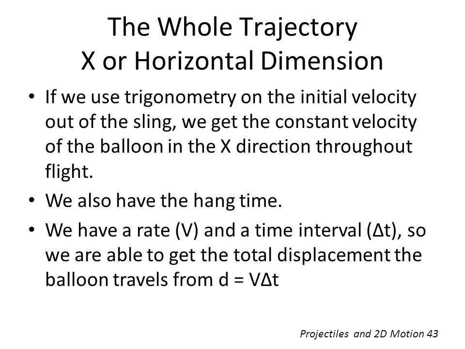 The Whole Trajectory X or Horizontal Dimension