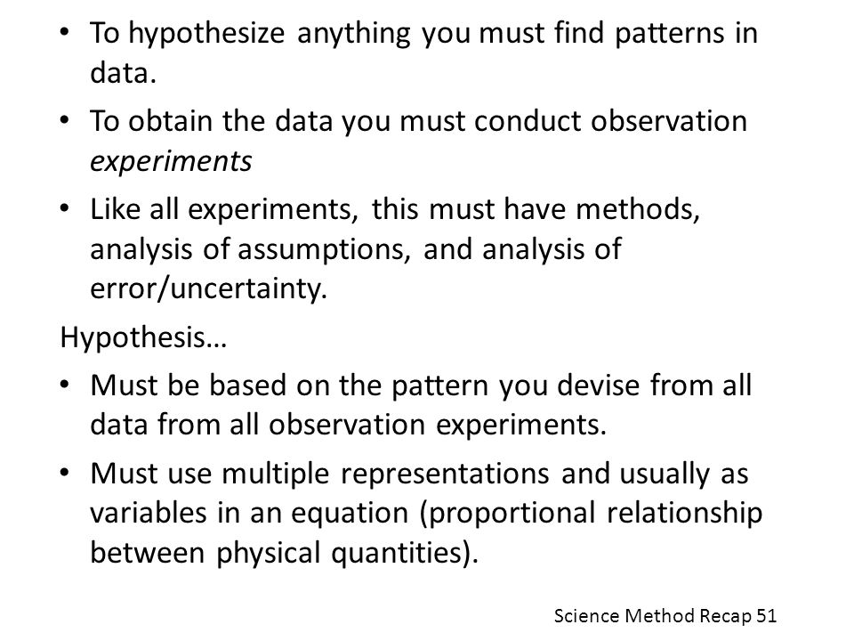 To hypothesize anything you must find patterns in data.