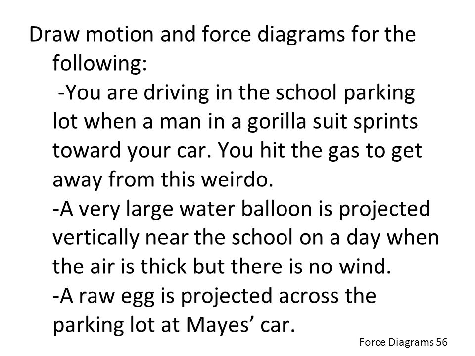 Draw motion and force diagrams for the following: -You are driving in the school parking lot when a man in a gorilla suit sprints toward your car. You hit the gas to get away from this weirdo. -A very large water balloon is projected vertically near the school on a day when the air is thick but there is no wind. -A raw egg is projected across the parking lot at Mayes' car.