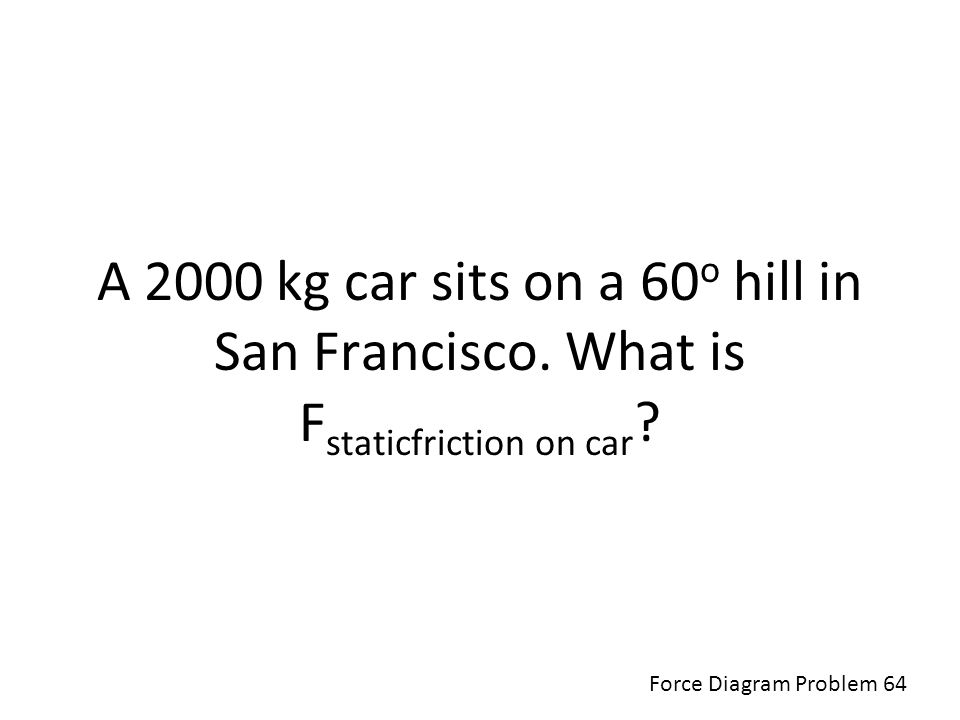 A 2000 kg car sits on a 60o hill in San Francisco
