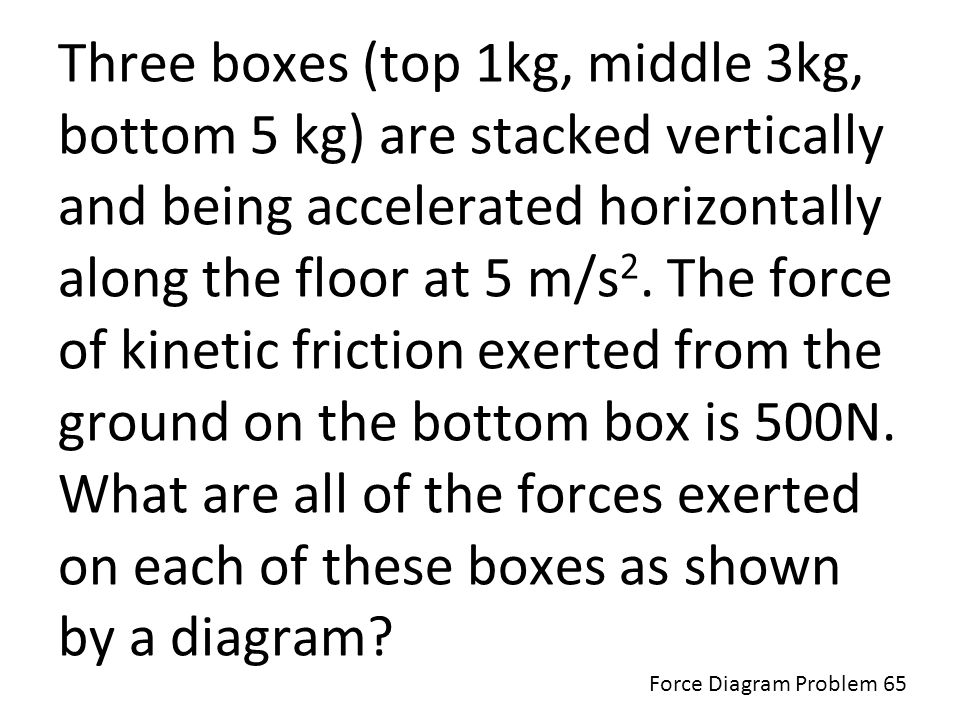Three boxes (top 1kg, middle 3kg, bottom 5 kg) are stacked vertically and being accelerated horizontally along the floor at 5 m/s2. The force of kinetic friction exerted from the ground on the bottom box is 500N. What are all of the forces exerted on each of these boxes as shown by a diagram