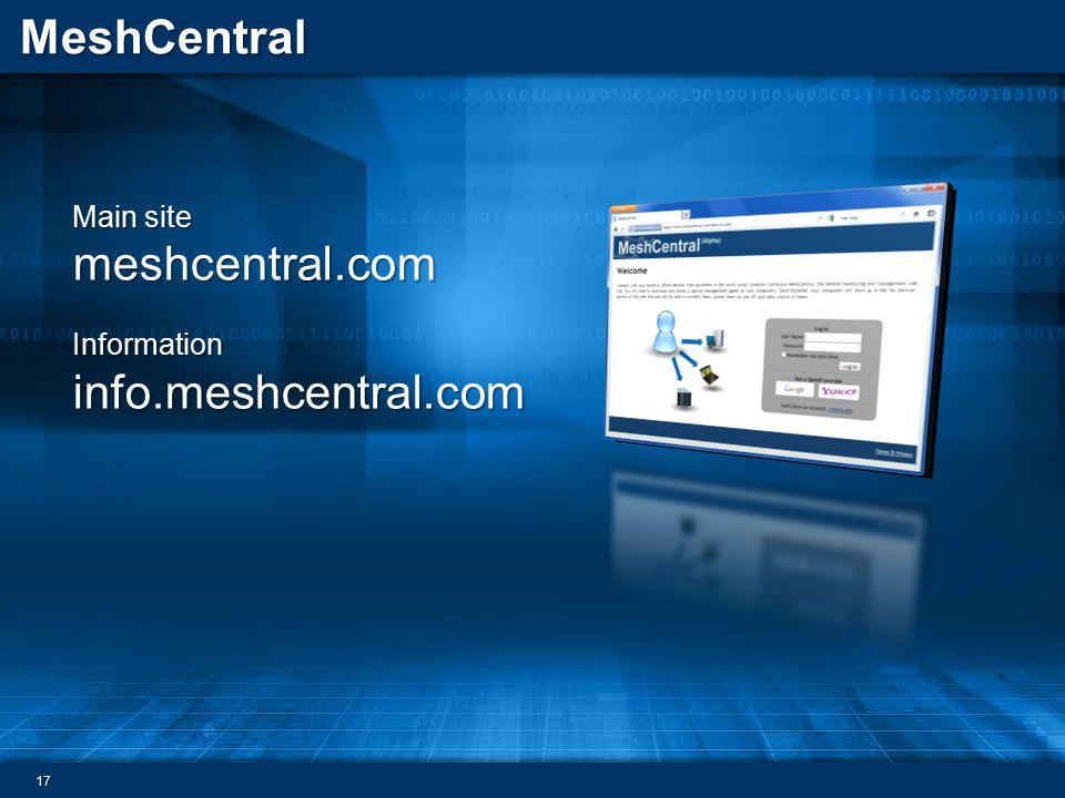 Main site meshcentral.com
