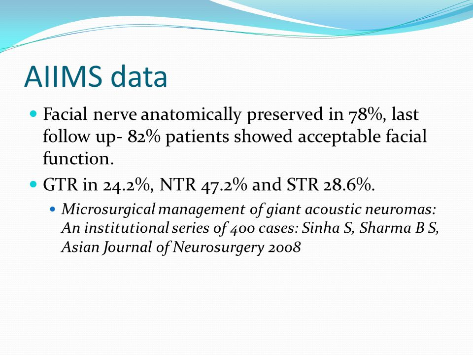 AIIMS data Facial nerve anatomically preserved in 78%, last follow up- 82% patients showed acceptable facial function.