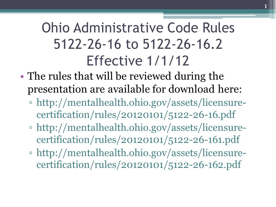 Ohio Administrative Code Rules 5122-26-16 to 5122-26-16