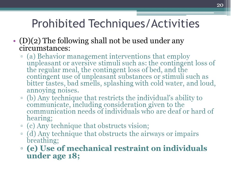 Prohibited Techniques/Activities