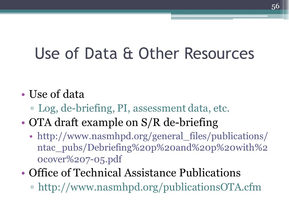 Use of Data & Other Resources