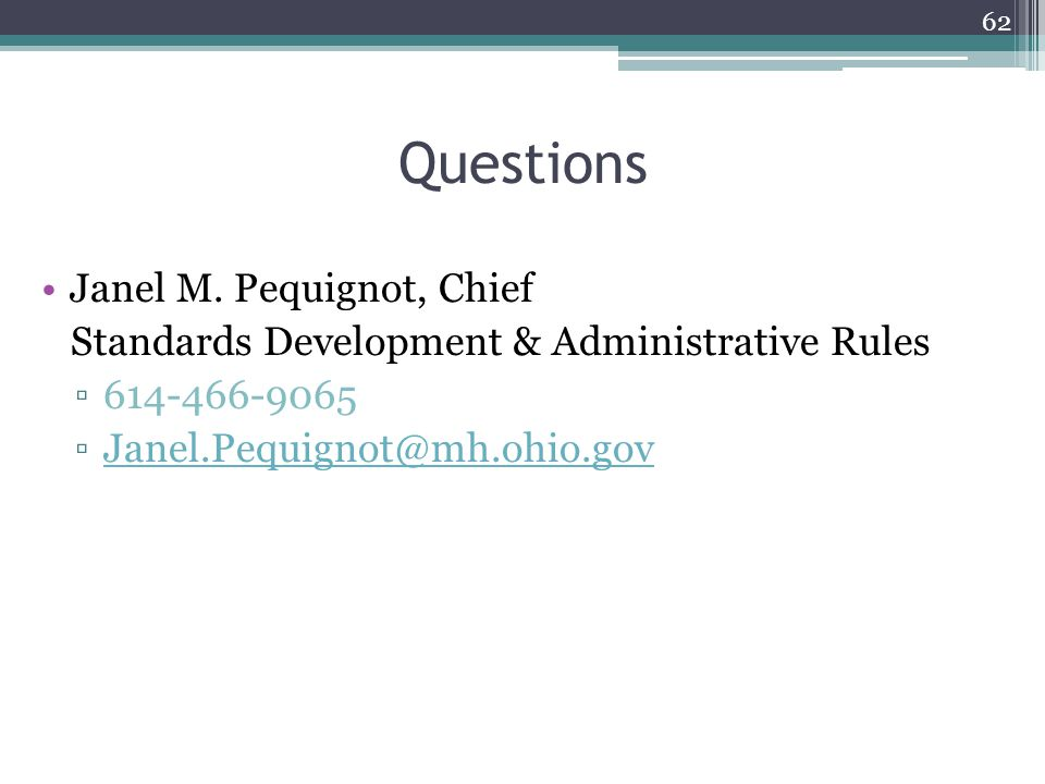 Questions Janel M. Pequignot, Chief