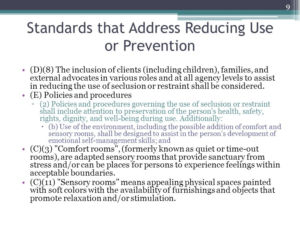 Standards that Address Reducing Use or Prevention