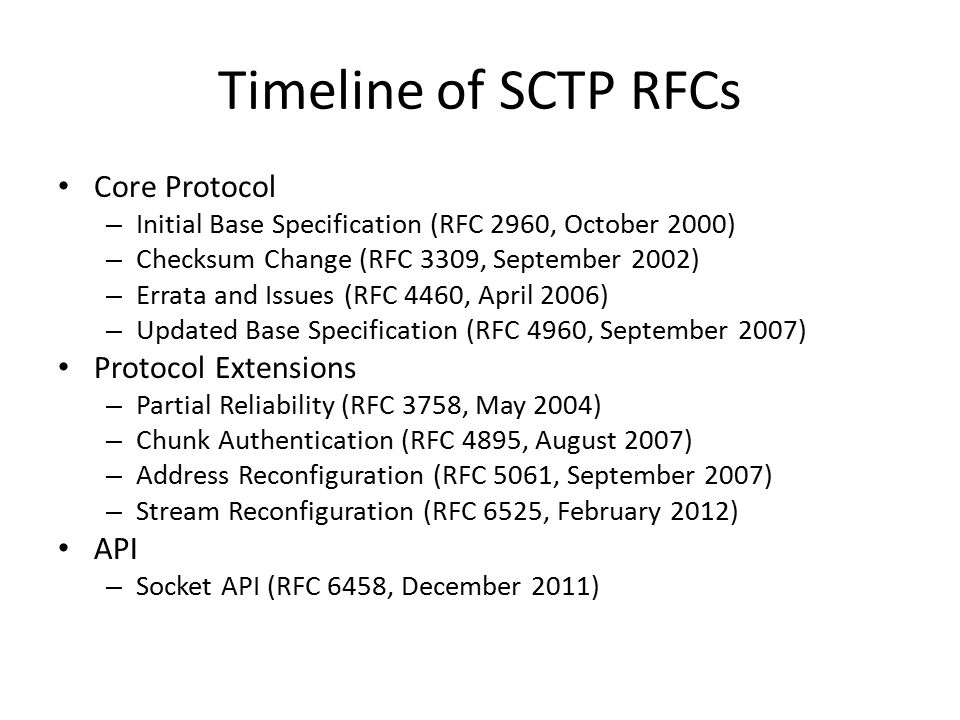 Timeline of SCTP RFCs Core Protocol Protocol Extensions API
