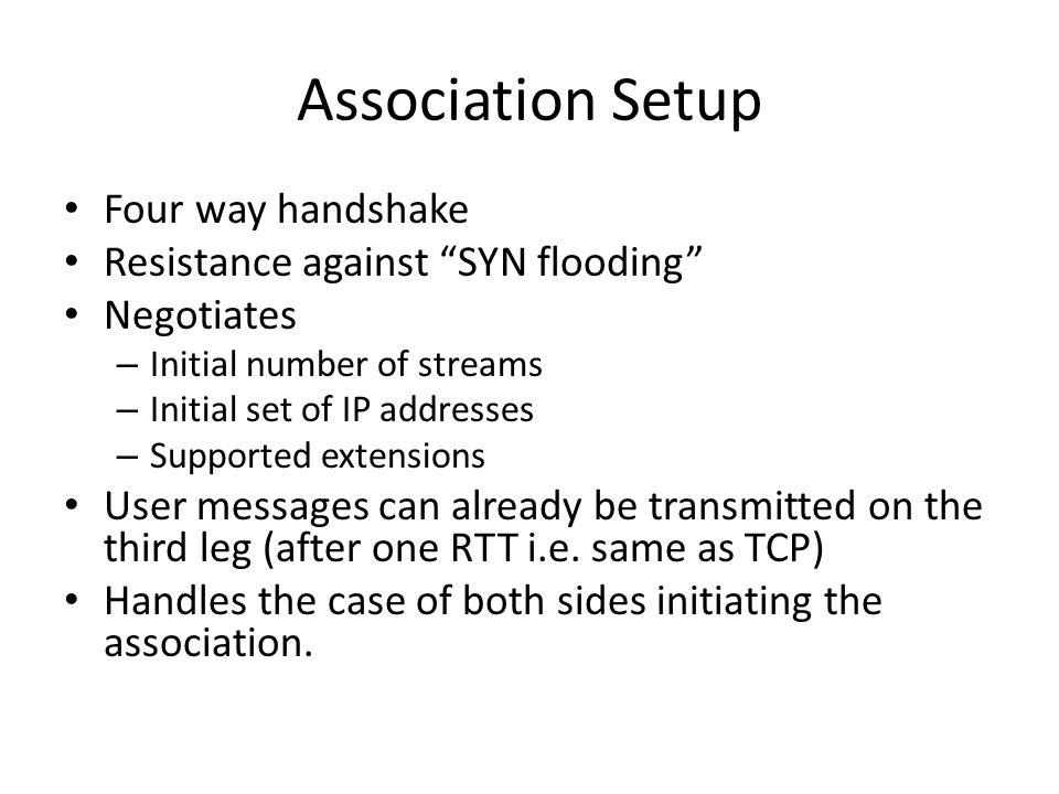 Association Setup Four way handshake Resistance against SYN flooding