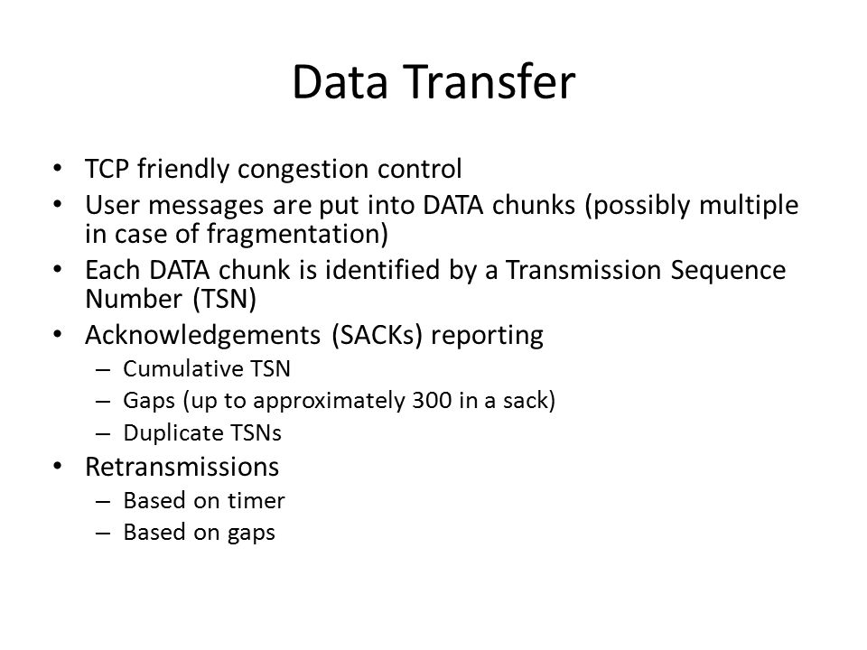 Data Transfer TCP friendly congestion control