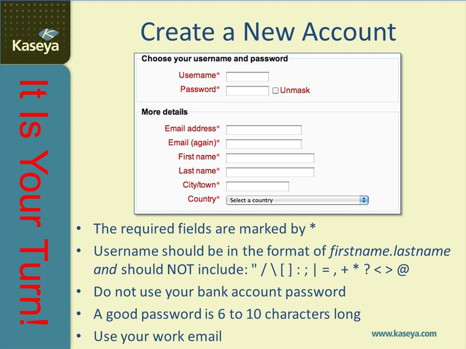Create a New Account The required fields are marked by *