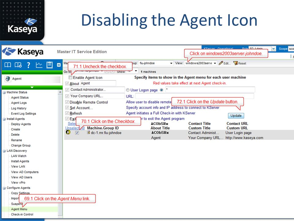 Disabling the Agent Icon