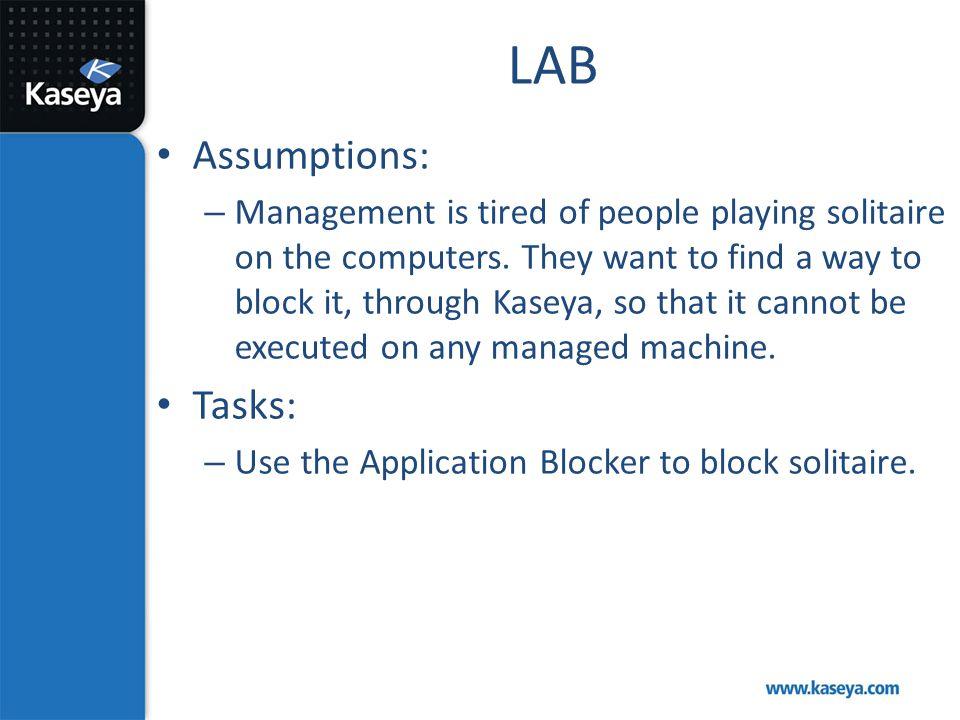 LAB Assumptions: Tasks: