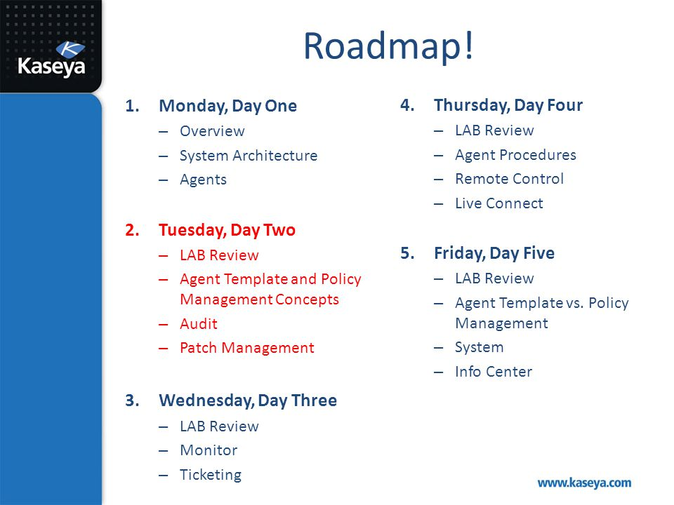 Roadmap! Monday, Day One Thursday, Day Four Tuesday, Day Two