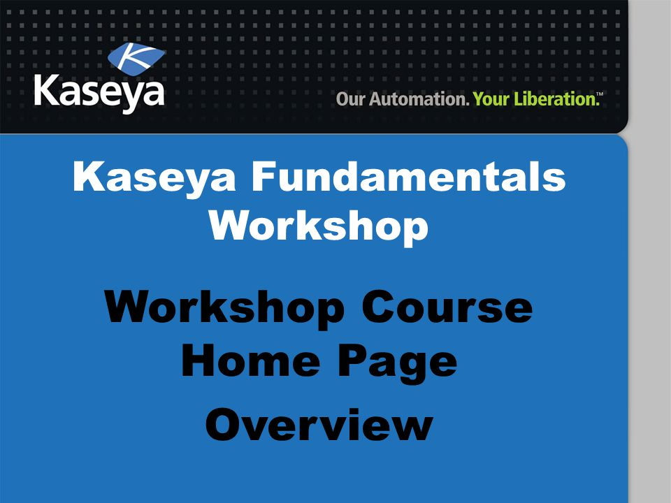 Workshop Course Home Page Overview