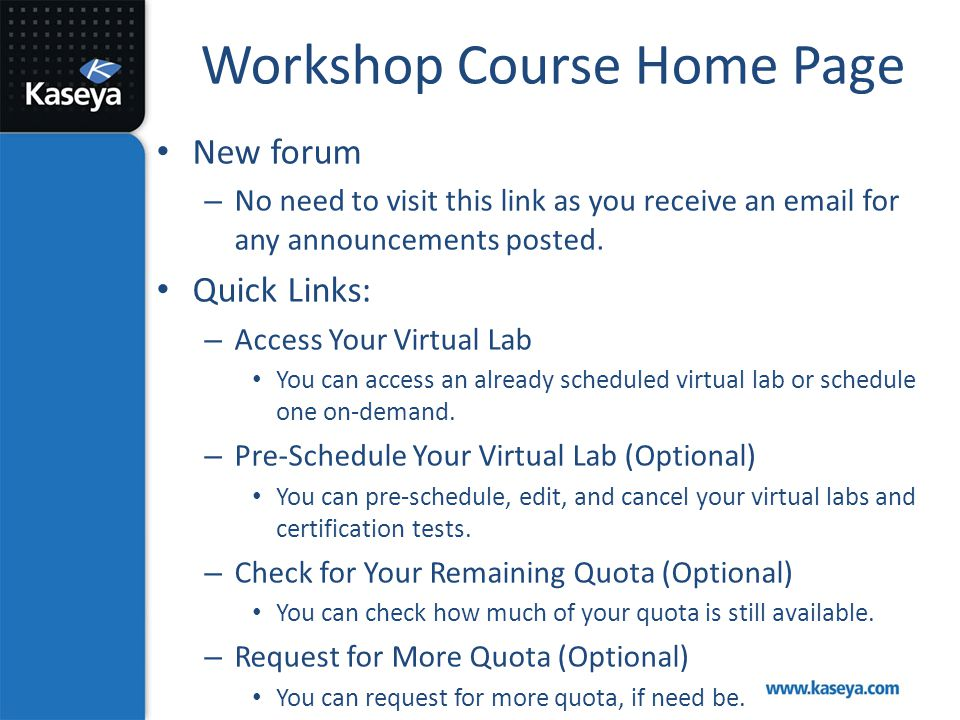 Workshop Course Home Page