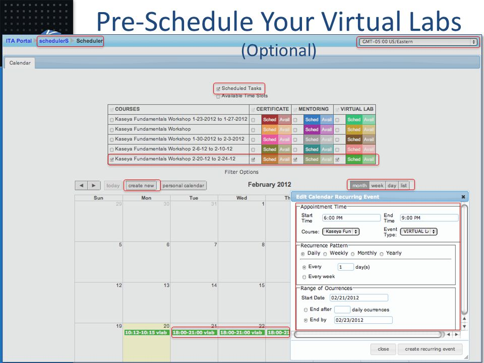 Pre-Schedule Your Virtual Labs (Optional)