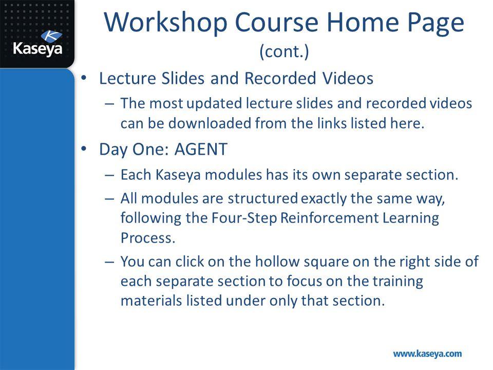 Workshop Course Home Page (cont.)