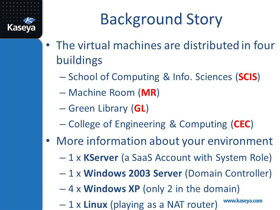 Background Story The virtual machines are distributed in four buildings. School of Computing & Info. Sciences (SCIS)
