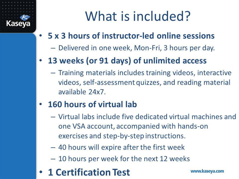 What is included 1 Certification Test