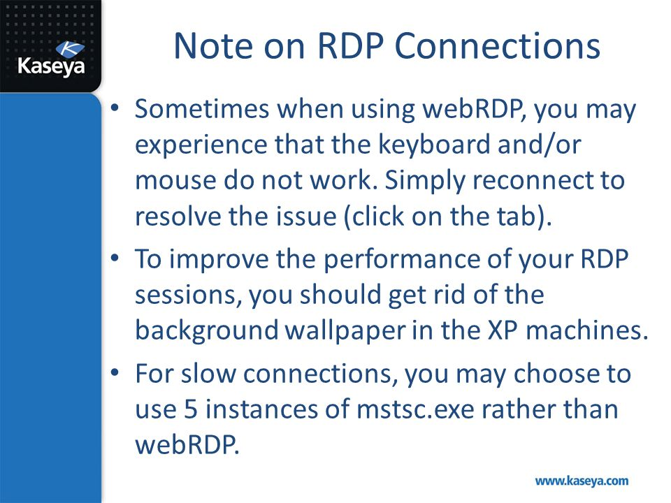 Note on RDP Connections