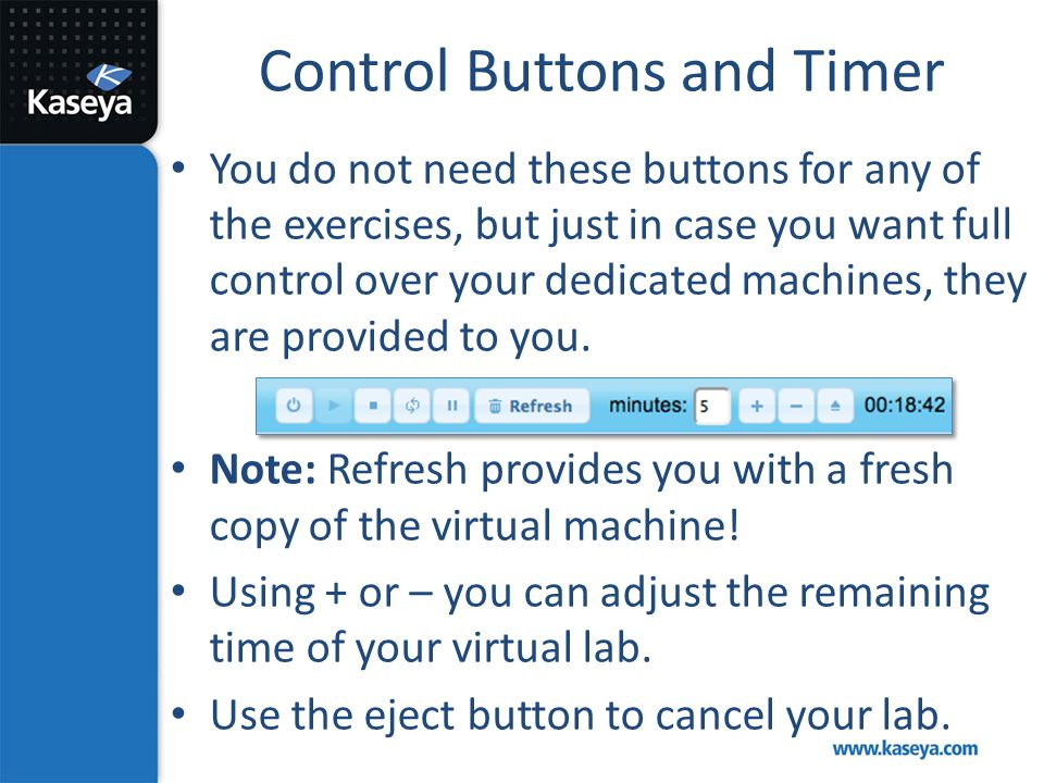 Control Buttons and Timer