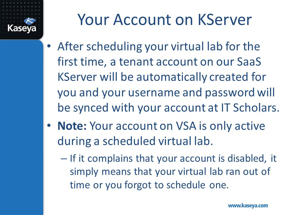 Your Account on KServer
