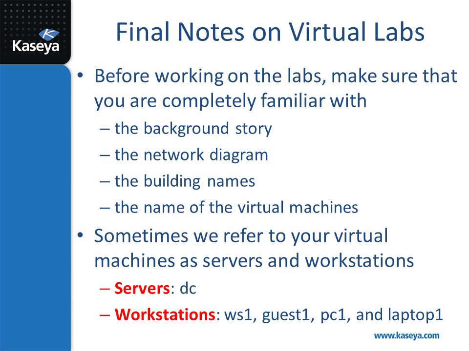 Final Notes on Virtual Labs