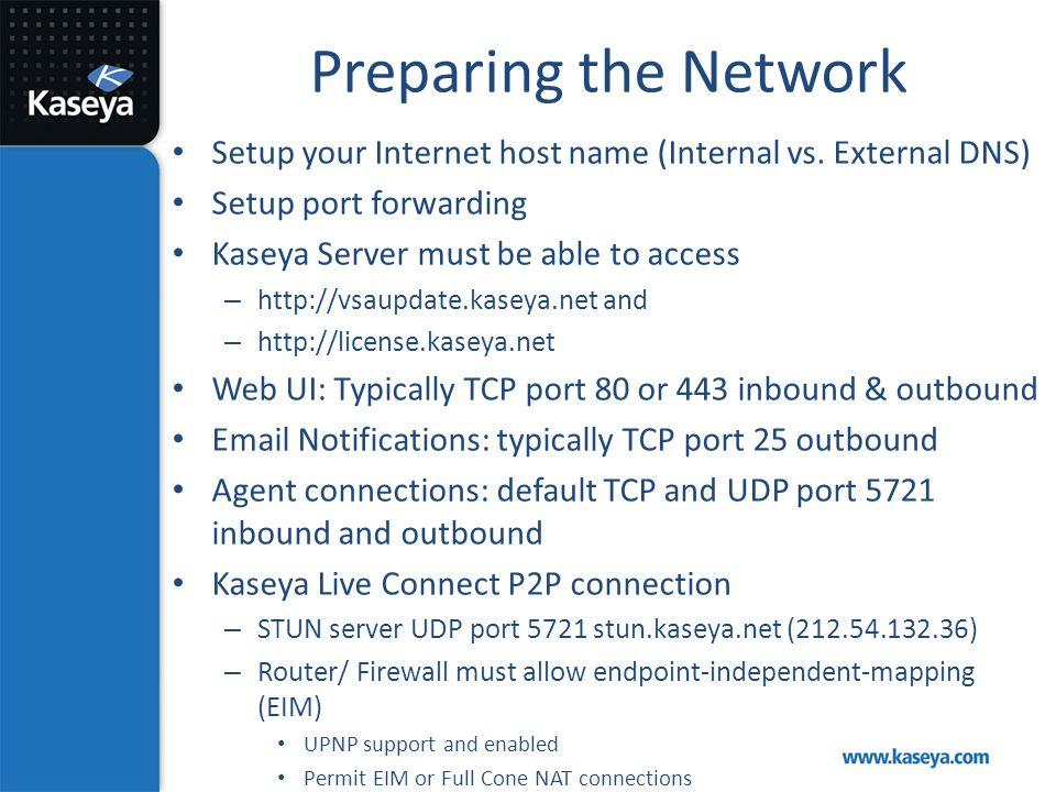 Preparing the Network Setup your Internet host name (Internal vs. External DNS) Setup port forwarding.