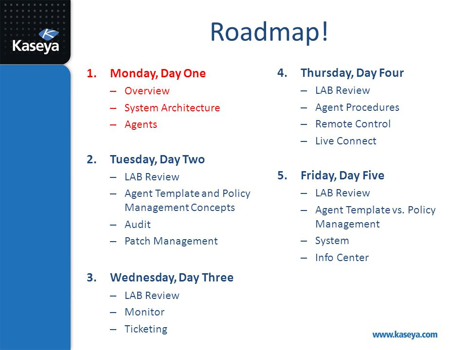 Roadmap! Monday, Day One Tuesday, Day Two Wednesday, Day Three