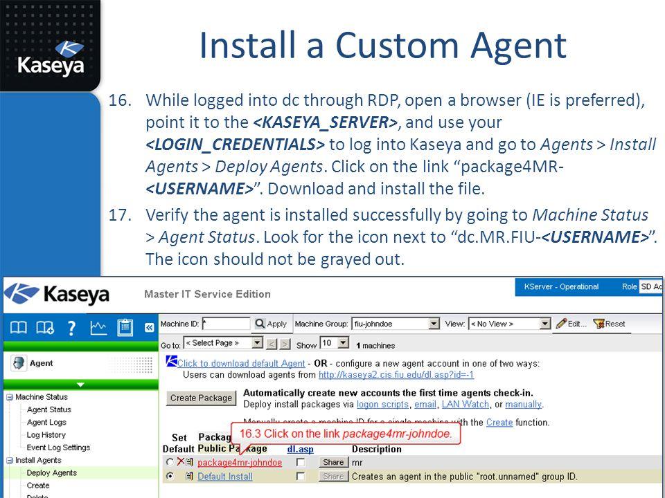 Install a Custom Agent