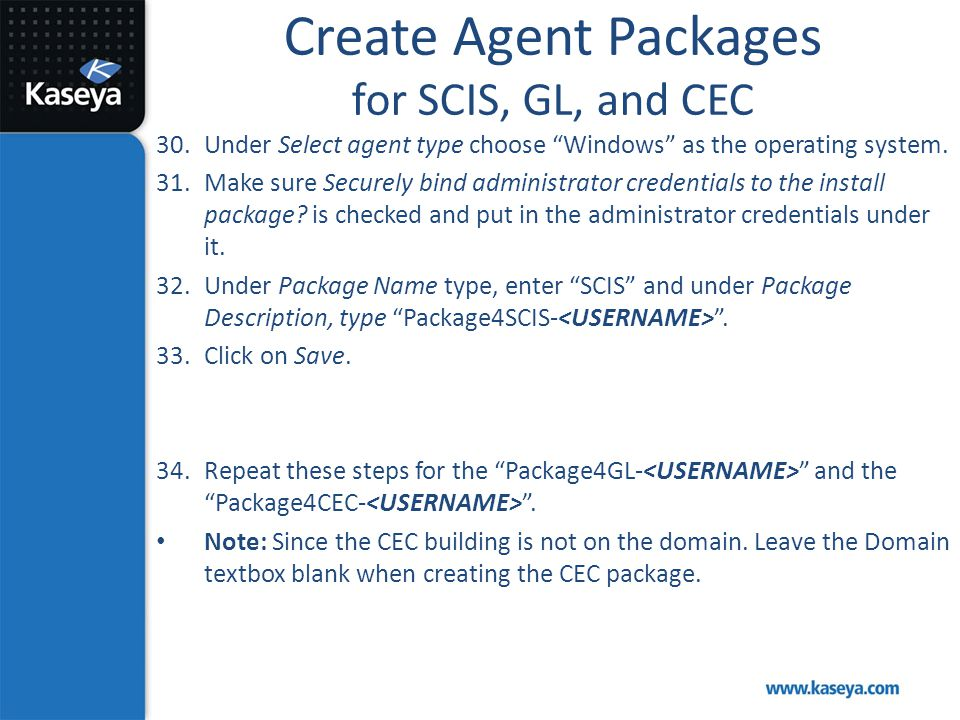 Create Agent Packages for SCIS, GL, and CEC